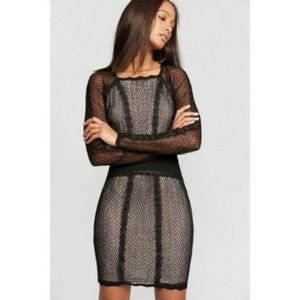 Free People Mixed-Mesh Illusion Sheath Dress, M